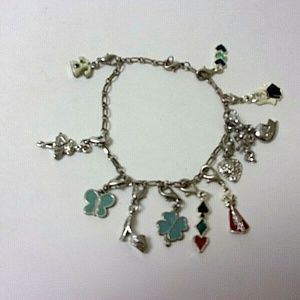 "Charm Bracelet or Anklet 9"" 12 Charms Silvertone"
